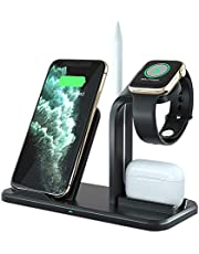 ADDANY Wireless Charger 3 in 1 Wireless Charging Station Fast Charger Docking Station for Samsung Galaxy S20/S10; iPhone 12/12 Pro/11/X/8;Apple Watch 6/SE/5/4/3/2/1;Airpods 1/2/Pro(NO AC Adapter)