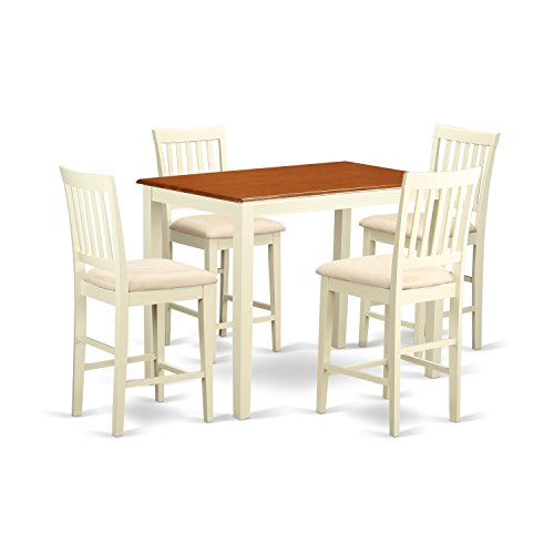 East West Furniture YAVN5-WHI-C 5 Piece Table and 4 Counter Height Dining Chair Set For Sale