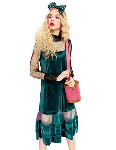 [Elf Sack Women's Spring Mesh Shirt and Spaghetti Dress Green XX-Large] (Elf Outfit For Women)