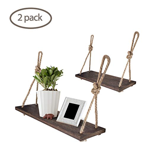 (Yankario Rope Hanging Floating Shelves, Rustic Wood Wall Decor Swing Shelf with 4 Hooks, Pack of 2)