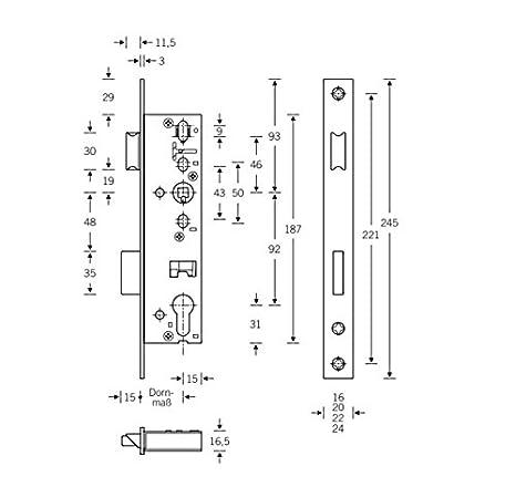 ToniTec/® Rohrrahmenschloss PZ Stulp 16mm Dornma/ß:40mm