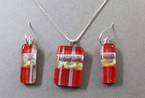 4 pc set Red gold striped fused dichroic glass pendant earrings .925 sterling silver ()