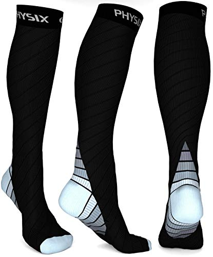 - Physix Gear Compression Socks for Men & Women 20-30 mmhg, Best Graduated Athletic Fit for Running Nurses Shin Splints Flight Travel & Maternity Pregnancy - Boost Stamina Circulation & Recovery GRY S/M