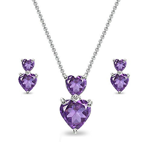 Sterling Silver African Amethyst Double Heart Friendship Necklace & Stud Earrings Set