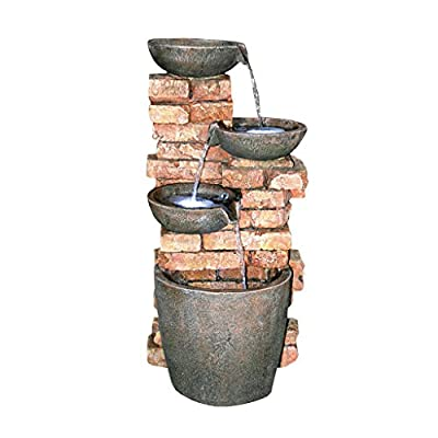 Water Fountain with LED Light - Nearly 3 Foot Tall Stacked Bricks Cascading Water Pots Garden Decor Fountain - Outdoor Water Feature - MAKE AN IMPACT! - Standing nearly three feet tall, this large fountain with cascading water pot design will be the focal point of your outdoor decor as garden decorations, patio outdoor fountain display or the center of attention on your front lawn. SPARKLING LED LIGHTS - Enjoy our water feature LED fountain lights in the evening on your garden patio with the sparkling glow of low voltage LED lights. LOW MAINTENANCE OUTDOOR DECOR - Hand-cast using real crushed stone bonded with durable designer resin, our easy to set up water fountains require no additional plumbing and include adjustable UL approved, indoor outdoor fountain pumps. Just assemble, fill them with water to completely submerge the pump and plug it into a standard electrical outlet. Now enjoy the sounds of water music! - patio, outdoor-decor, fountains - 41inv4D84uL. SS400  -