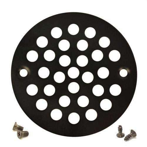 (Oil Rubbed Bronze Round Shower Grate Drain 4'' Replacement Cover + Tapping & Machine)