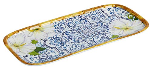 """Tree Blue Bamboo (Pool-Safe Shatter-Resistant Rectangular Lightweight Melamine Serving Tray with Handles, 14.75""""L x 6.75""""W (Bali Blue Tile Bamboo White Flowers))"""