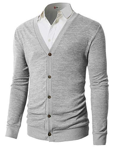 - H2H Men's Cardigan Sweaters LightGray US L/Asia XL (CMOCAL023)