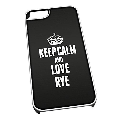 Bianco cover per iPhone 5/5S 1475nero Keep Calm and Love Rye