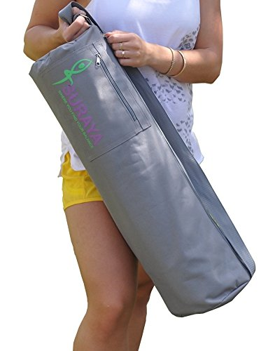 Cotton Yoga Mat Bag by Suraya | Unisex Fitness Bag with Full Zipְְper | Adjustable strap | Large Storage Pockets | Eco-friendly | Ventilated | Light Weight | Pilates | Sport Chic Canvas Zipped Compact Wallet