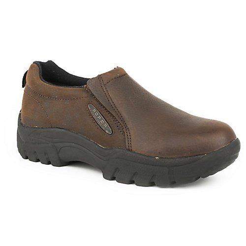 Roper Men's Performance Smooth Leather Slip-On Shoes Round Toe Brown 10.5 D(M) US from Roper