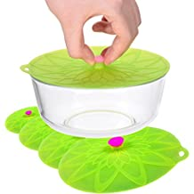 Kuke Set of 4 Silicone Bowl Lids Reusable Suction Seal Covers for Bowls Pots Cups Food Safe (Green)