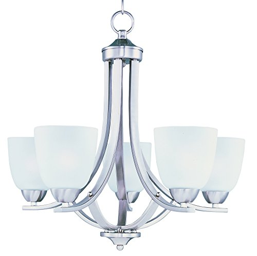 Maxim 11225FTSN Axis 5-Light Chandelier, Satin Nickel Finish, Frosted Glass, MB Incandescent Incandescent Bulb , 60W Max., Dry Safety Rating, Standard Dimmable, Steel + Fabric Shade Material, 6048 Rated Lumens 1 Tier Frosted Glass Chandelier