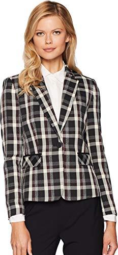 One Button Plaid Jacket - Tahari by ASL Women's Novetly Plaid One-Button Jacket Cabernet/Black/Ivory 12