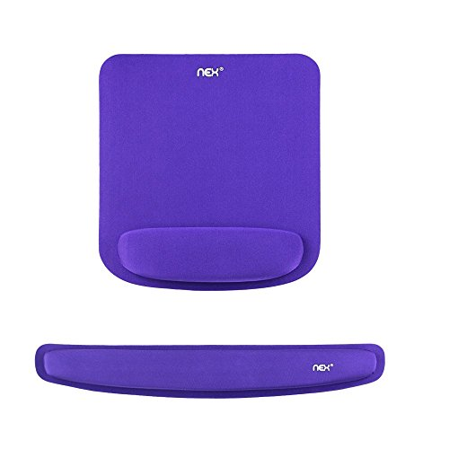NEX Memory Foam Mouse Pad & Keyboard Wrist Rest Kit For Computer Laptop (Purple) by NEX