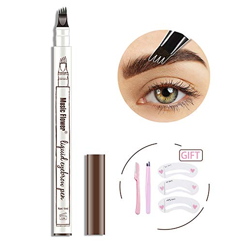 Eyebrow Tattoo Pen- Waterproof Microblading Eyebrow Pencil with a Micro-Fork Tip Applicator Creates Natural Looking Brows Effortlessly,04# Black