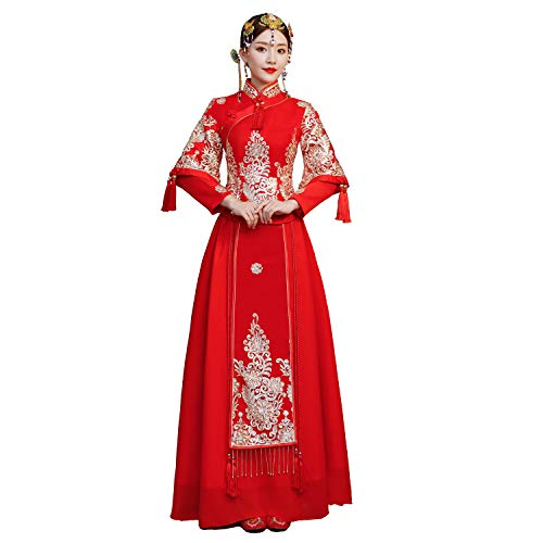 Shanghai Story Chinese Cheongsam Wedding Dress Bridal Dress Qipao Xiuhe Dress XL Red