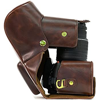 """MegaGear """"Ever Ready"""" Brown Leather Camera Case for Nikon D5300 Cameras with 18-55mm 18-135mm 18-200mm VR Lens"""