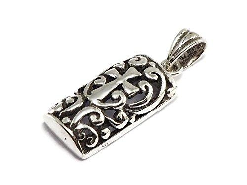 Greek Key Circle Pendant - 925 Sterling Silver Tiny Pendant Square Celtic Cross 5/16