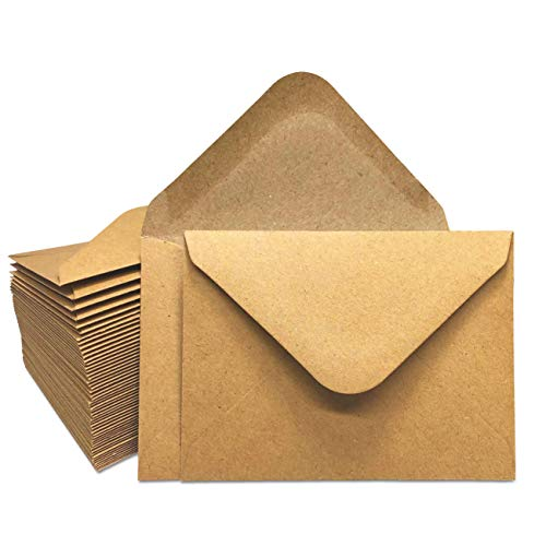 Gift Card Envelopes - 100-Count Mini Envelopes, Kraft Paper Business Card Envelopes, Bulk Tiny Envelope Pockets for Small Note Cards, Brown, 4 x 2.7 Inches