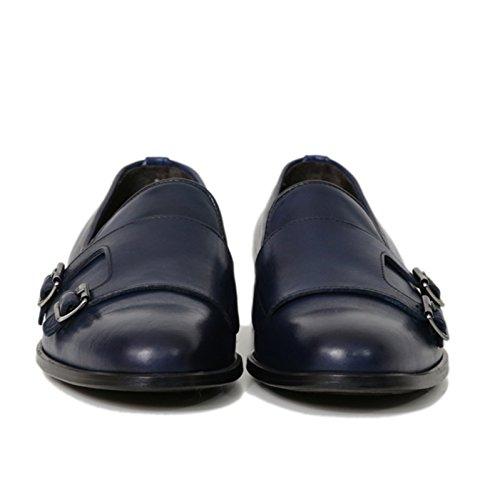 Scarpe Artigianali Uomo Doppia Fibbia di Colore Blu Calzature Italiane 100% Vera Pelle Loafer Shoes Double Monkstrap Made in Italy