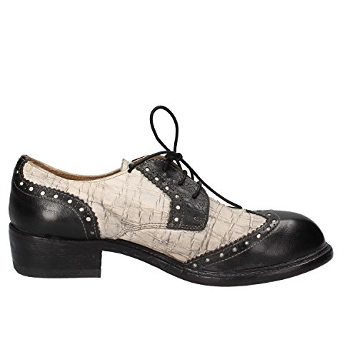 Negro Moma Mujer Piel Blanco Para Y Cordones Zapatos De Sx8BC