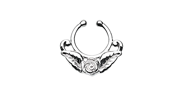 Freedom Fashion Rose Blossom Icon Fake Fake Septum Clip-On Ring