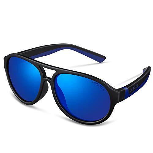 Kids Polarized Sunglasses UV 400 Protection for Boys Child Youth Teen Children Sport Glasses, Matte Black/Dark Blue Frame Blue Revo ()