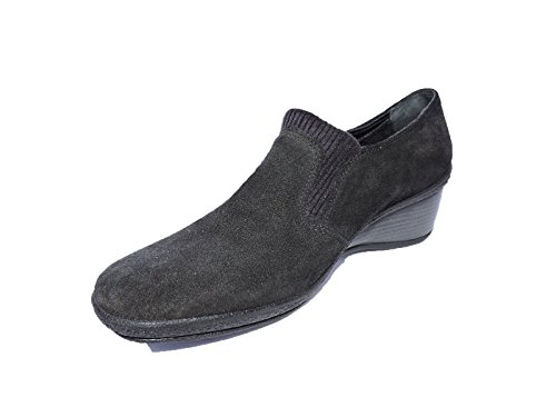 Aquatalia by Marvin K. Molly Black Suede Wedge Designer $395 Loafers Shoes, Size 6.5 M