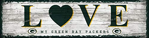 "Photo File Green Bay Packers Love Wall Poster, Sports Bar Unframed Print Decor 6"" x 22"""