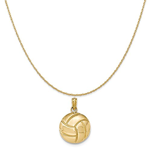 Mireval 14k Yellow Gold Polished 2-D Volleyball Pendant on 14K Yellow Gold Rope Chain Necklace, 16