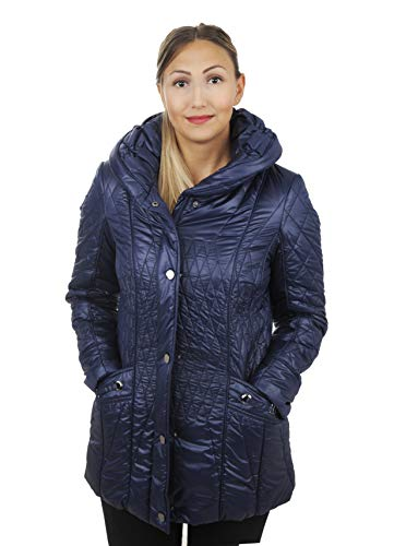 Tailory Fashion Women Winter Coats, Outwear with Warm Wrap Collar,Quilted Padding Slim Long Parka,Navy,XXL