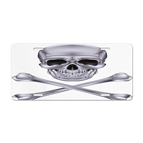 Blingreddiamond Silver,Vivid Skull and Crossbones Dangerous Scary Dead Skeleton Evil Face Halloween Theme,Dimgray Custom Novelty License Plates Aluminum, Decorative Auto Car Front Tag 12 x 6 -