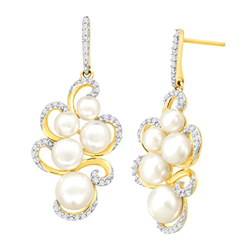 1/5 ct Diamond & Freshwater Button Cultured Pearl Swirl Drop Earrings in 14K Gold