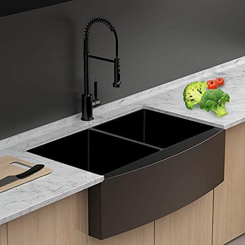 Farmhouse Kitchen Sink Double Bowl Lordear 33 Inch Kitchen Sink Apron Front Gunmetal Matte Black 16 Gauge Stainless Steel Double Bowl 50 50 Farm Kitchen Sink