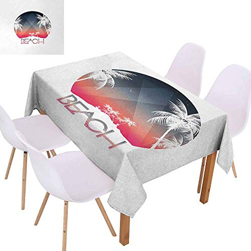 UHOO2018 Beach,Picnic Tablecloth,Beach Party Tropical Island and Palm Trees with Starry Night and Birds Illustration,Great for Tabletop Decoration,Multicolor,60