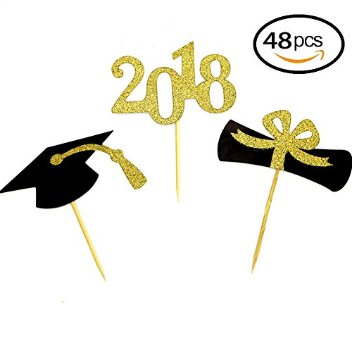 Price comparison product image YuBoBo 2018 Graduation Cupcake Toppers,  Food / Appetizer Picks For Graduation Party Mini Cake Decorations,  Diploma,  2018,  Grad Cap Set 48 Pieces