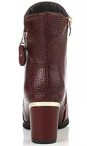 DADAWEN Damen Ankle Boots mit Reißverschluss Karminrot