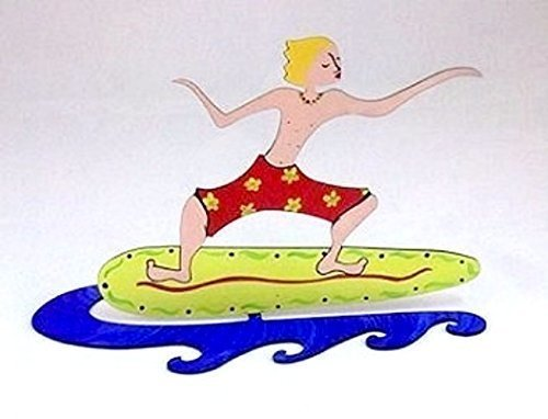 Surfer Boy - Hand Painted Steel Sculpture - free standing on wave