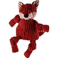 HuggleHounds Plush Corduroy Durable Squeaky Knottie, Dog Toy, Great Dog Toys  for Aggressive Chewers, Fox, Small