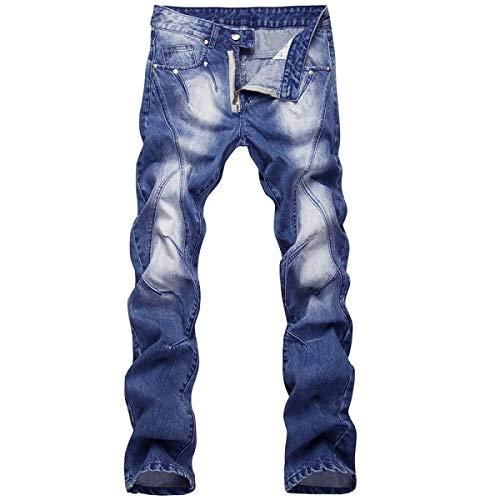 Jeans Slim Fit Da Uomo Dritti Regular Aderenti Vintage Stone Giovane Wash Pantaloni Casual Blu