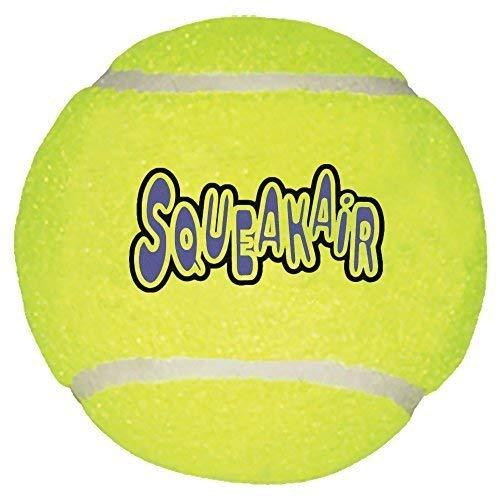 KONG Air Dog Squeakair Tennis Ball Dog Toy, Large, Yellow (2 Pack) (Balls Dog Kong Air)