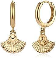 Fettero Gold Huggie Hoop Earrings Star Cross Lock Lightning Spike Evil Eye Fan Bead Dangle Drop Snake Sleeper