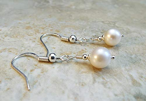 Round Ivory Cultured Freshwater Pearl Earrings with Sterling Silver Ear Wires
