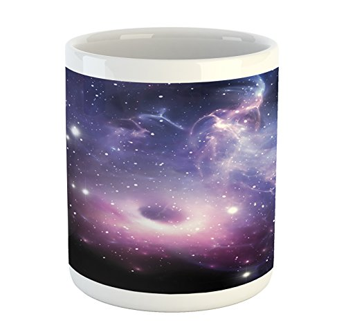 Lunarable Outer Space Mug, Black Hole in The Nebula Gas Cloud in Outer Space Universe Astro Solar System, Printed Ceramic Coffee Mug Water Tea Drinks Cup, Navy Purple by Lunarable