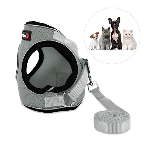 Kamots Beauty Escape Proof Cat Dog Harness and Leash Adjustable Soft Mesh Pet Vest with Reflective Strap for Puppy Kitten Small Pet Walking -(Grey,L)