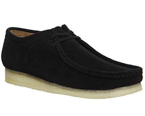 Clarks Originals Mens Black Wallabee Suede Shoes Nero