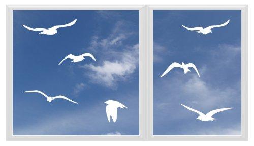 Lini® Sticker: 7 Vögel Deko Aufkleber Vogel Wandtattoo Vogelschutz, Warnvögel, Vogelschlag, Fensterschutz entworfen für Fenster, Auto, Wand... (birds,weiß)