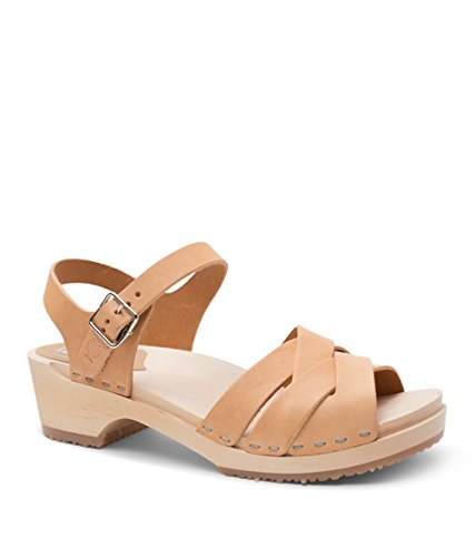 Sandgrens Swedish Wooden Low Heel Clog Sandals for Women | Rio Grande Nude Veg, EU 41