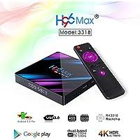 elegantstunning H96 max 3318 Quad-Core 2+16G/4+32G Android 9.0 HD Smart Network Media Player TV Box (EU Plug;4+32)